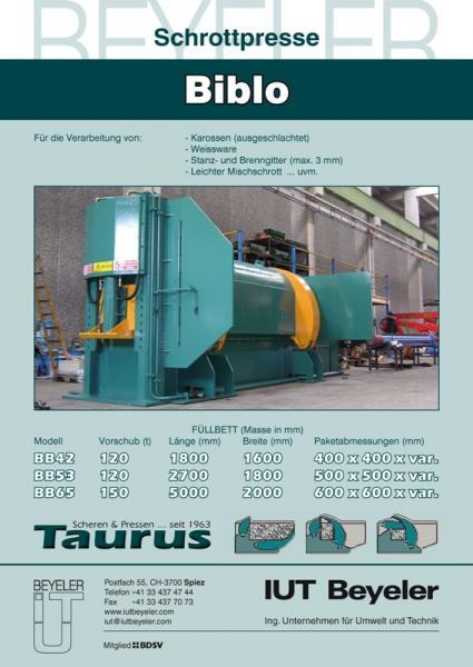 Scrap press  TAURUS BB 66 stationary
